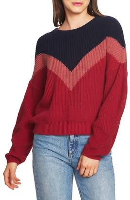 1 STATE 1.STATE Chevron Front Shaker Crewneck Cotton Sweater