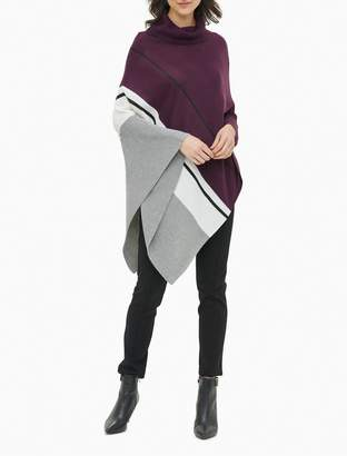 Calvin Klein Colorblock Turtleneck Asymmetric Poncho