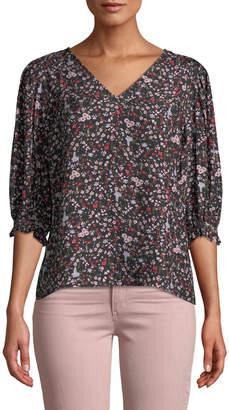 Rebecca Taylor Lyra 3/4-Sleeve Silk Floral Top