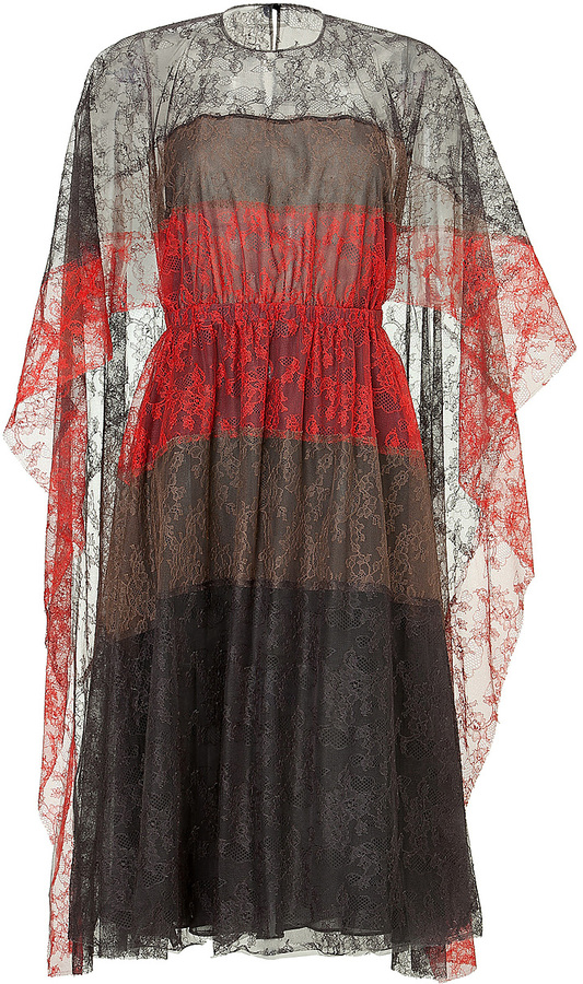 Valentino Silk Lace Colorblock Dress with Cape Sleeves