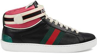 Gucci Women's Logo-Strap Leather Sneakers