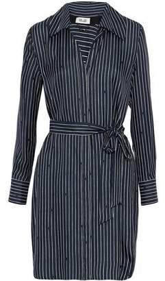 Diane von Furstenberg Belted Pinstriped Silk Crepe De Chine Shirt Dress