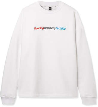 Opening Ceremony Cozy Embroidered Cotton-jersey Sweatshirt - White