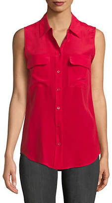 Equipment Slim Sleeveless Silk Blouse