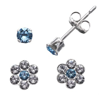 Swarovski Charming Girl Sterling Silver Blue Cubic Zirconia & Crystal Flower Stud Earring Set - Made with Crystals - Kids
