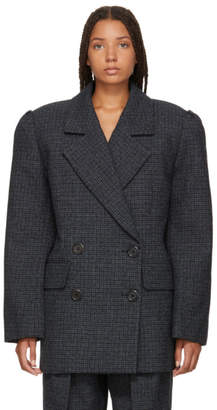 Marc Jacobs Blue Check Wool Double-Breasted Blazer