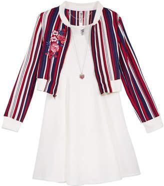 Beautees Big Girls Plus 3-Pc Dress, Bomber Jacket & Necklace Set