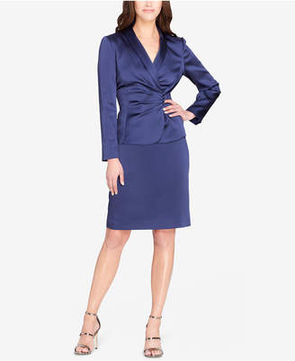 Tahari ASL Satin Shawl-Collar Skirt Suit