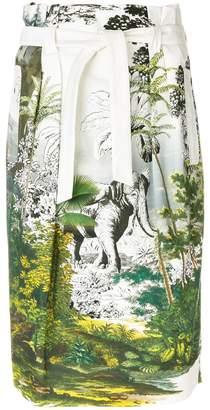 nature print tie waist skirt