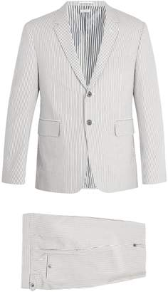 Thom Browne Single-breasted striped cotton-seersucker suit