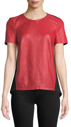 Neiman Marcus Leather Collection Lamb Leather & Ponte Back Top