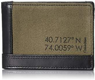 Calvin Klein Men's Slimfold Wallet Canvas and Smooth Leather