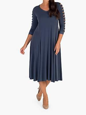 Chesca Slate Lattice Dress, Slate Grey
