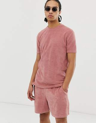 Asos Design DESIGN two-piece relaxed t-shirt in towelling in pink