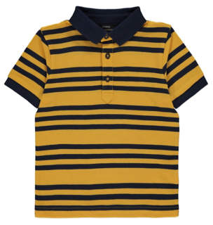 George Yellow and Navy Stripe Short Sleeve Polo Shirt