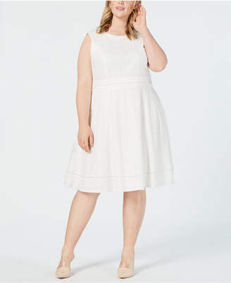 f9bb36301b9 Calvin Klein Plus Size Eyelet Fit and Flare Dress