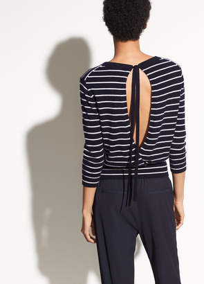 Vince Striped Back Tie Cashmere Crew