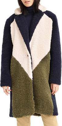 J.Crew Colorblock Faux Shearling Topcoat