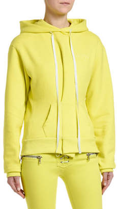 Unravel Pintucked Brushed-Terry Hooded Sweatshirt