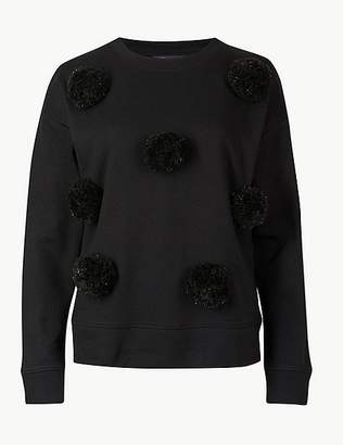 Marks and Spencer Cotton Rich Sparkly Pom-Pom Sweatshirt