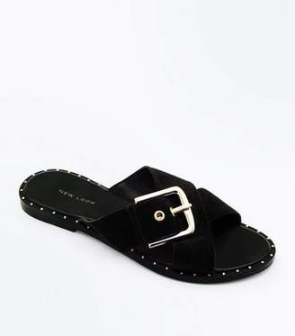 New Look Black Suede Cross Strap Studded Sliders
