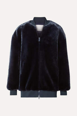 Tibi Faux Fur Bomber Jacket - Navy