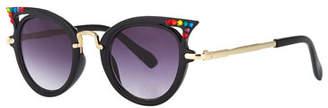 Bari Lynn Kids' Cat-Eye Sunglasses w/ Rainbow Swarovski Crystals