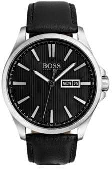 HUGO BOSS The James 3-Hand Stainless Steel Analog Leather Strap Watch