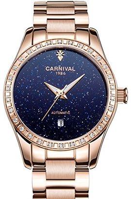 Carnival カーニバルレディースダイヤモンド自動マシンローズゴールドステンレススチールサファイア防水GrilsブルーWatch