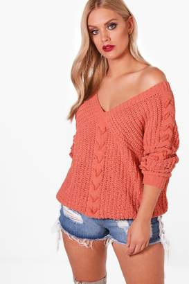 boohoo Plus Lace Up Sleeve Cable Knit Jumper