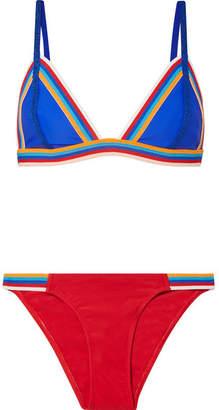 Rye - Slick Striped Triangle Bikini - Tomato red