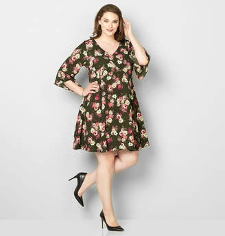 Avenue Rose Crepe Fit and Flare Dress