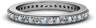 TriJewels Aquamarine and Diamond 1.6mm Micro Pave Eternity Band 0.61 to 0.63 Carat tw 14K White Gold.size 6.0