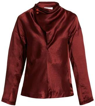 Toga - Asymmetric Cowl Neck Satin Top - Womens - Burgundy