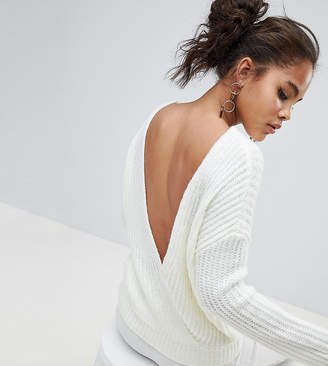 Asos Tall Design Tall Chunky Jumper With V Back