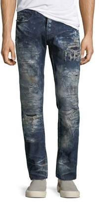 PRPS Rip Repaired & Bleached Slim-Leg Jeans