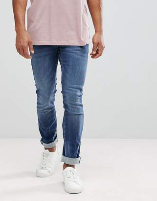 Celio Straight Fit Jeans In Dark Wash Blue With Distressing