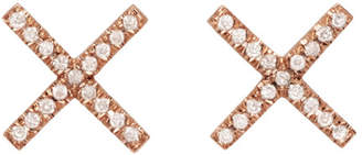 Eva Fehren Rose Gold and Diamond X Studs