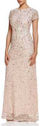 Adrianna Papell Short Sleeve Embellished Gown $280 thestylecure.com