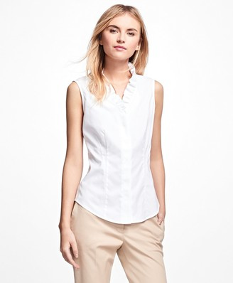 Brooks Brothers Non-Iron Sleeveless Ruffled Blouse