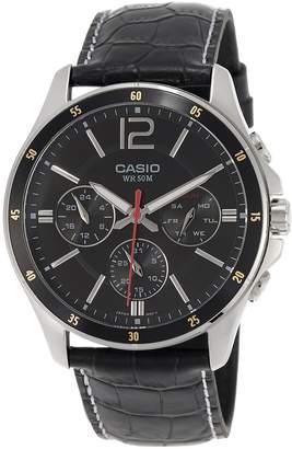 Casio #MTP1374L-1AV Men's Standard Leather Band Multi-Function Dial Watch