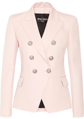 Balmain - Double-breasted Wool Blazer - Pastel pink $2,325 thestylecure.com