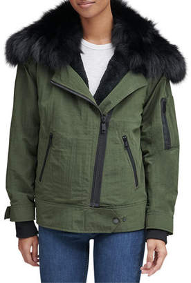 Andrew Marc Sparrow Crinkle Moto Jacket w/ Removable Fur Collar