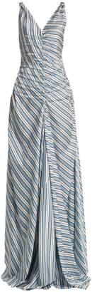 ATTICO Penelope V-neck striped dress
