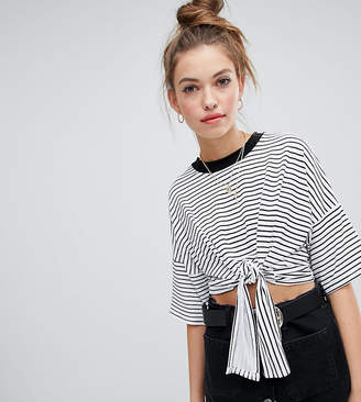 Wednesday's Girl cropped t-shirt with tie front in stripe