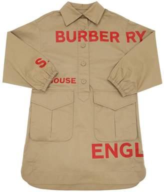Burberry LOGO PRINTED COTTON POPLIN SHIRT DRESS