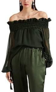 Juan Carlos Obando Women's Silk Chiffon Peasant Top - Olive