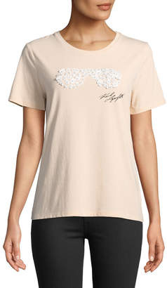 Karl Lagerfeld Paris Floral-Appliqué Sunglasses Tee