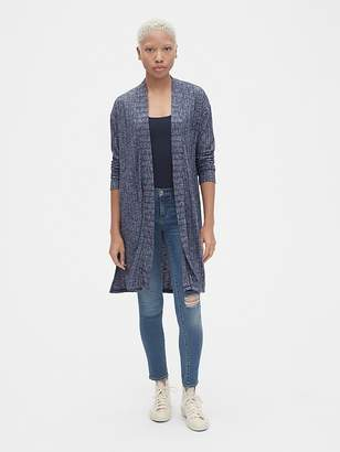 Gap Softspun Ribbed Longline Open-Front Cardigan Sweater