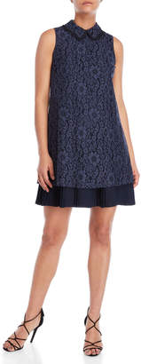 Nanette Lepore Navy Collared Lace Dress